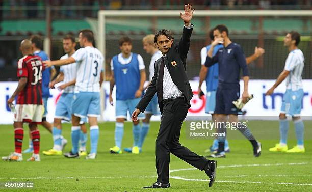 Milan coach Filippo Inzaghi celebrates a victory at the end of the Serie A match between AC Milan and SS Lazio at Stadio Giuseppe Meazza on August 31...