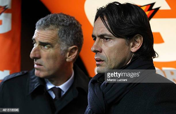 Milan coach Filippo Inzaghi looks on before the TIM Cup match between AC Milan and US Sassuolo Calcio at Stadio Giuseppe Meazza on January 13 2015 in...