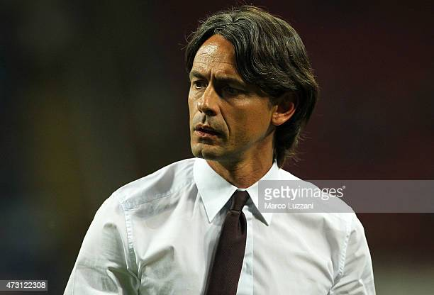 Milan coach Filippo Inzaghi looks on during the Serie A match between AC Milan and AS Roma at Stadio Giuseppe Meazza on May 9 2015 in Milan Italy