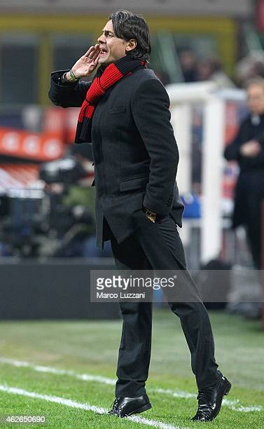 Milan coach Filippo Inzaghi shouts to his players during the TIM Cup match between AC Milan and SS Lazio at Stadio Giuseppe Meazza on January 27 2015...