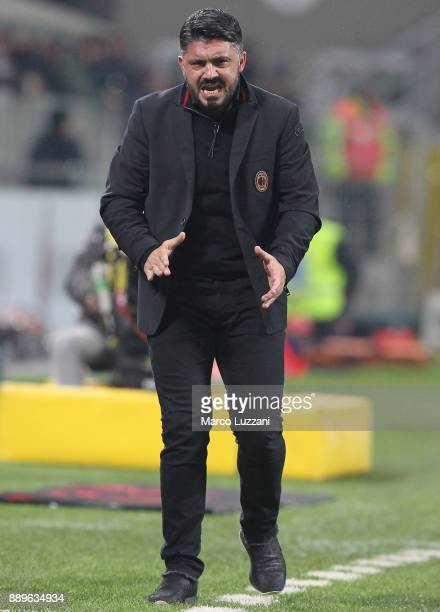 Milan coach Gennaro Gattuso celebrates the goal during the Serie A match between AC Milan and Bologna FC at Stadio Giuseppe Meazza on December 10...