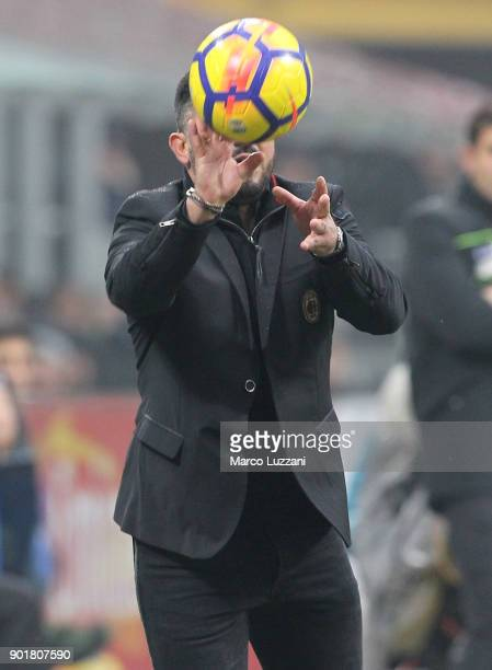 Milan coach Gennaro Gattuso controls the ball during the serie A match between AC Milan and FC Crotone at Stadio Giuseppe Meazza on January 6 2018 in...
