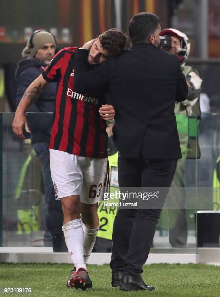 Milan coach Gennaro Gattuso embraces Patrick Cutrone during UEFA Europa League Round of 32 match between AC Milan and Ludogorets Razgrad at the San...