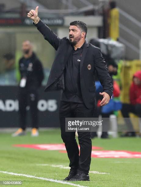 Milan coach Gennaro Gattuso gestures during the serie A match between AC Milan and AS Roma at Stadio Giuseppe Meazza on August 31 2018 in Milan Italy