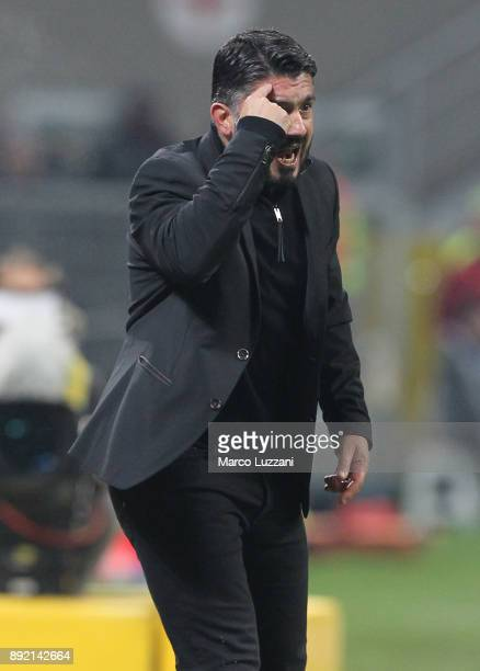 Milan coach Gennaro Gattuso gestures during the Serie A match between AC Milan and Bologna FC at Stadio Giuseppe Meazza on December 10 2017 in Milan...
