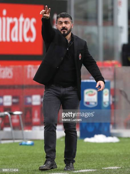 Milan coach Gennaro Gattuso gestures during the serie A match between AC Milan and AC Chievo Verona at Stadio Giuseppe Meazza on March 18 2018 in...