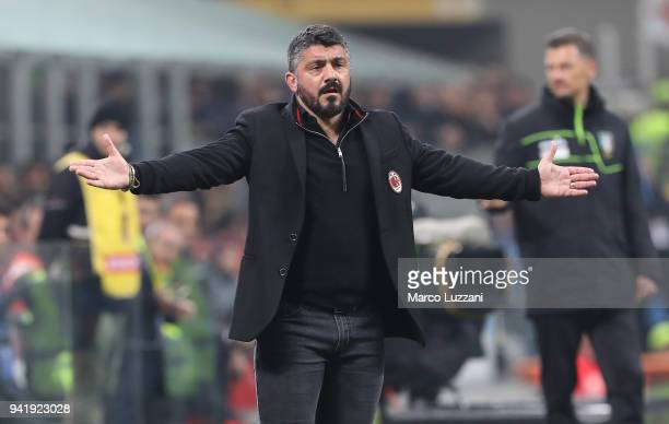 Milan coach Gennaro Gattuso gestures during the Serie A match between AC Milan and FC Internazionale at Stadio Giuseppe Meazza on April 4 2018 in...