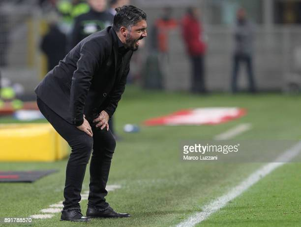 Milan coach Gennaro Gattuso issues instructions to his players during the Tim Cup match between AC Milan and Hellas Verona FC at Stadio Giuseppe...