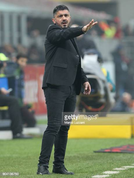 Milan coach Gennaro Gattuso issues instructions to his players during the serie A match between AC Milan and FC Crotone at Stadio Giuseppe Meazza on...