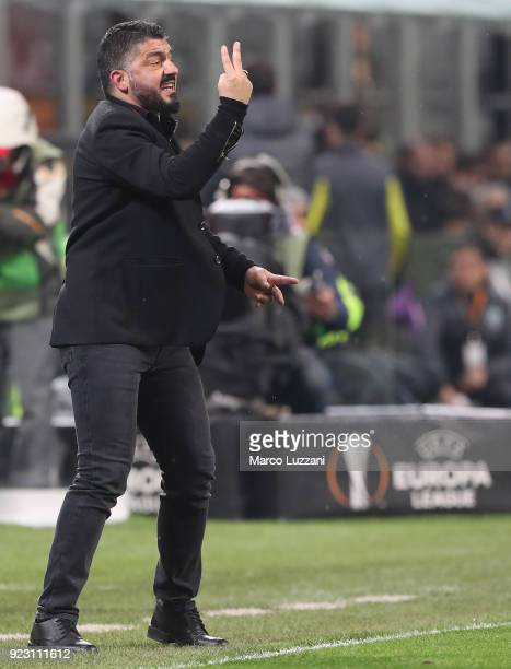 Milan coach Gennaro Gattuso issues instructions to his players during UEFA Europa League Round of 32 match between AC Milan and Ludogorets Razgrad at...