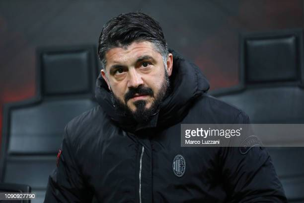Milan coach Gennaro Gattuso looks on before the Coppa Italia match between AC Milan and SSC Napoli at Stadio Giuseppe Meazza on January 29 2019 in...