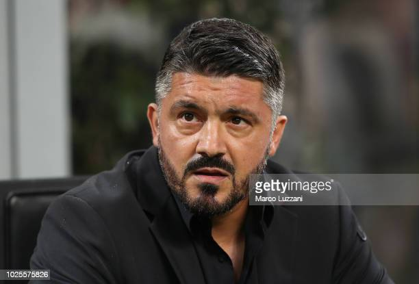 Milan coach Gennaro Gattuso looks on before the serie A match between AC Milan and AS Roma at Stadio Giuseppe Meazza on August 31 2018 in Milan Italy
