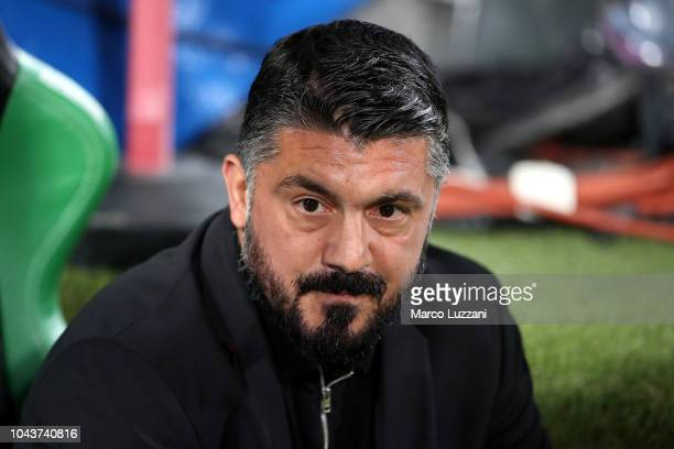 AC Milan coach Gennaro Gattuso looks on before the Serie A match between US Sassuolo and AC Milan at Mapei Stadium Citta' del Tricolore on September...