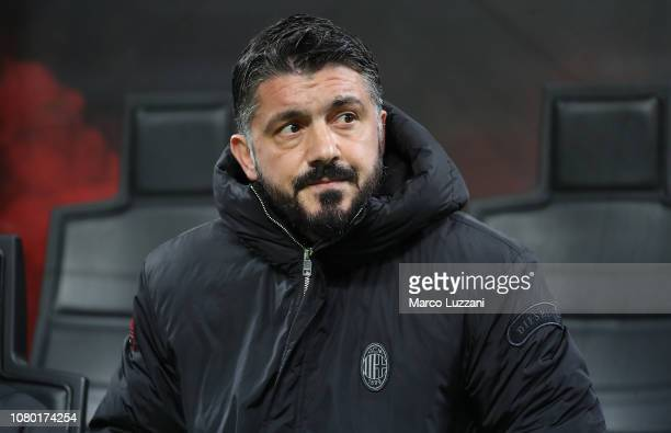 Milan coach Gennaro Gattuso looks on before the Serie A match between AC Milan and Torino FC at Stadio Giuseppe Meazza on December 9 2018 in Milan...
