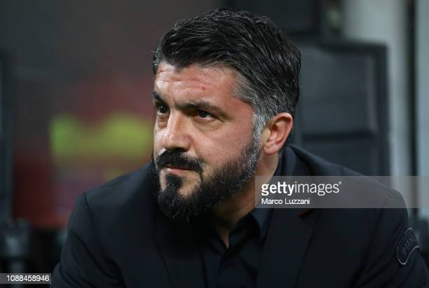 Milan coach Gennaro Gattuso looks on before the Serie A match between AC Milan and SPAL at Stadio Giuseppe Meazza on December 29 2018 in Milan Italy