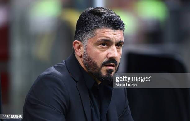 Milan coach Gennaro Gattuso looks on before the Serie A match between AC Milan and Udinese at Stadio Giuseppe Meazza on April 2 2019 in Milan Italy