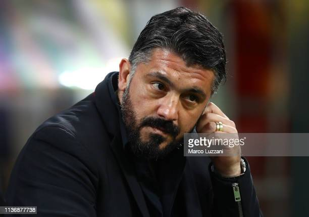 Milan coach Gennaro Gattuso looks on before the Serie A match between AC Milan and SS Lazio at Stadio Giuseppe Meazza on April 13 2019 in Milan Italy