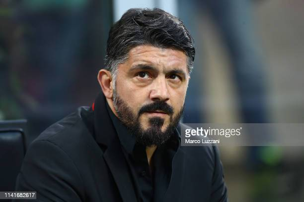 Milan coach Gennaro Gattuso looks on before the Serie A match between AC Milan and Bologna FC at Stadio Giuseppe Meazza on May 6 2019 in Milan Italy