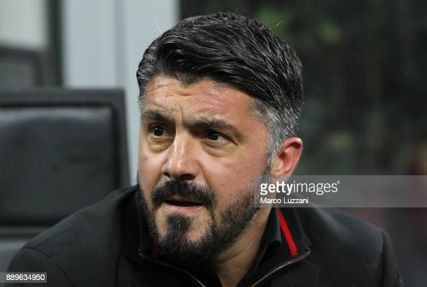 Milan coach Gennaro Gattuso looks on before the Serie A match between AC Milan and Bologna FC at Stadio Giuseppe Meazza on December 10 2017 in Milan...