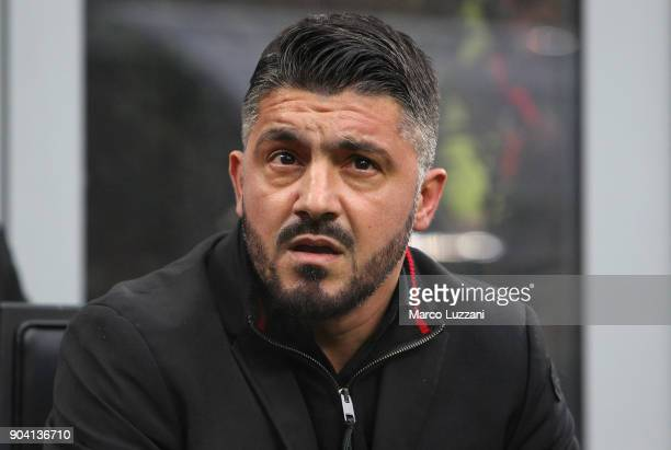 Milan coach Gennaro Gattuso looks on before the serie A match between AC Milan and FC Crotone at Stadio Giuseppe Meazza on January 6 2018 in Milan...