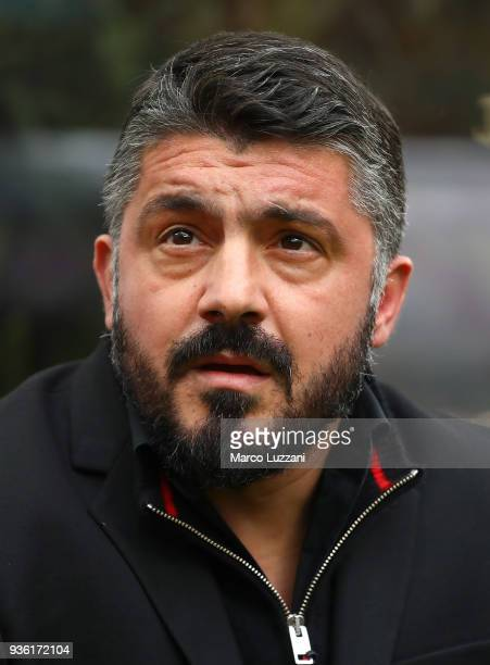 Milan coach Gennaro Gattuso looks on before the serie A match between AC Milan and AC Chievo Verona at Stadio Giuseppe Meazza on March 18 2018 in...