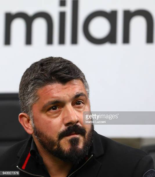 Milan coach Gennaro Gattuso looks on before the Serie A match between AC Milan and FC Internazionale at Stadio Giuseppe Meazza on April 4 2018 in...