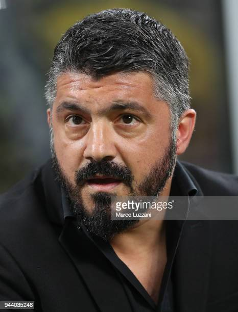 Milan coach Gennaro Gattuso looks on before the serie A match between AC Milan and US Sassuolo at Stadio Giuseppe Meazza on April 8 2018 in Milan...