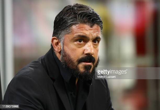 Milan coach Gennaro Gattuso looks on before the TIM Cup match between AC Milan and SS Lazio at Stadio Giuseppe Meazza on April 24 2019 in Milan Italy