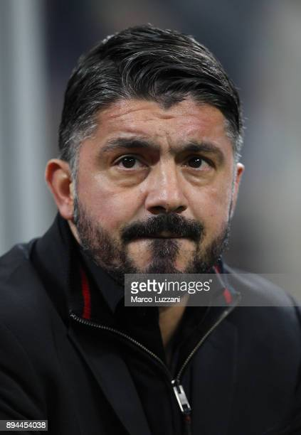 Milan coach Gennaro Gattuso looks on before the Tim Cup match between AC Milan and Hellas Verona FC at Stadio Giuseppe Meazza on December 13 2017 in...
