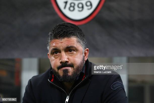 Milan coach Gennaro Gattuso looks on before UEFA Europa League Round of 16 match between AC Milan and Arsenal at the San Siro on March 8 2018 in...
