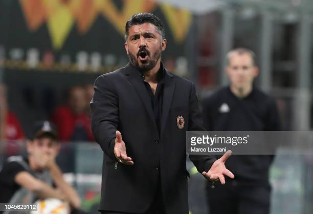 Milan coach Gennaro Gattuso reacts during the UEFA Europa League Group F match between AC Milan and Olympiacos at Stadio Giuseppe Meazza on October 4...