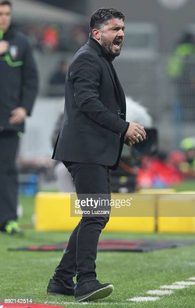 Milan coach Gennaro Gattuso shouts to his players during the Serie A match between AC Milan and Bologna FC at Stadio Giuseppe Meazza on December 10...