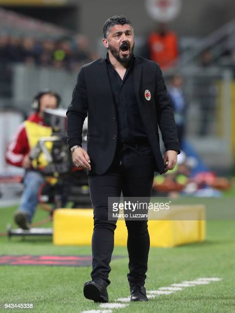 Milan coach Gennaro Gattuso shouts to his players during the serie A match between AC Milan and US Sassuolo at Stadio Giuseppe Meazza on April 8 2018...