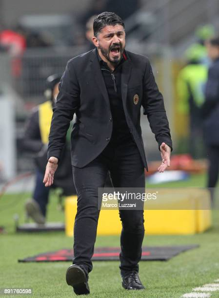 Milan coach Gennaro Gattuso shouts to his players during the Tim Cup match between AC Milan and Hellas Verona FC at Stadio Giuseppe Meazza on...