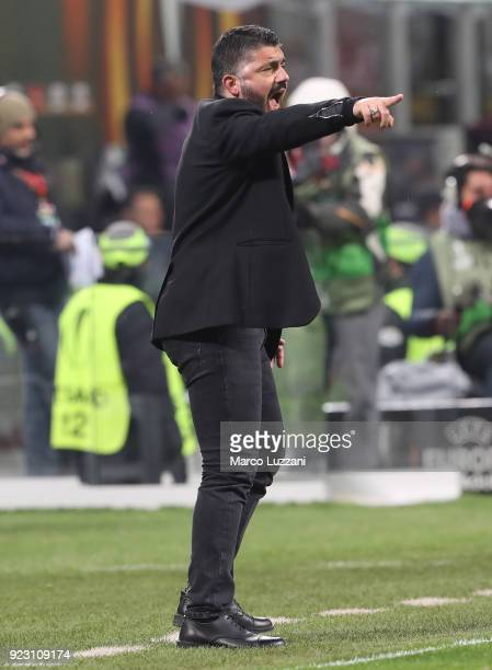 Milan coach Gennaro Gattuso shouts to his players during UEFA Europa League Round of 32 match between AC Milan and Ludogorets Razgrad at the San Siro...