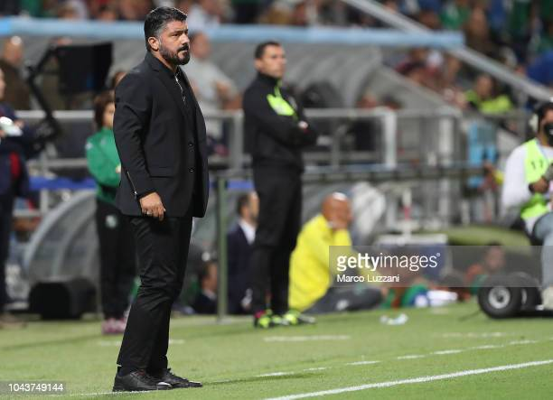 AC Milan coach Gennaro Gattuso watches the action during the Serie A match between US Sassuolo and AC Milan at Mapei Stadium Citta' del Tricolore on...