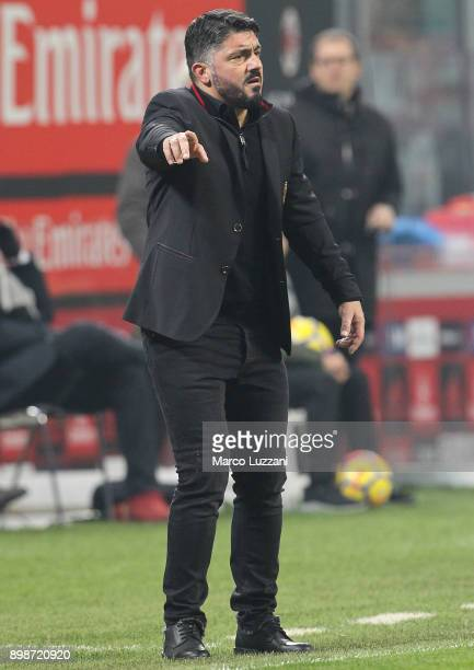 Milan coach Gennaro Gattuso watches the action during the serie A match between AC Milan and Atalanta BC at Stadio Giuseppe Meazza on December 23...