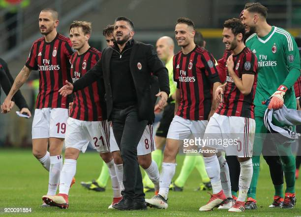 Milan coach Ivan Gennaro Gattuso celebrates the victory at the end of the serie A match between AC Milan and UC Sampdoria at Stadio Giuseppe Meazza...
