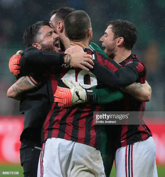 Milan coach Ivan Gennaro Gattuso celebrates the victory with Leonardo Bonucci and Davide Calabria at the end of the TIM Cup match between AC Milan...