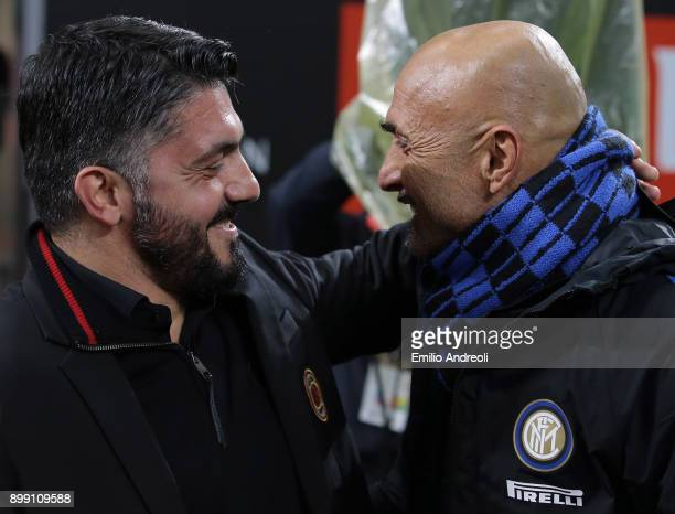 Milan coach Ivan Gennaro Gattuso embraces FC Internazionale Milano coach Luciano Spalletti prior to the TIM Cup match between AC Milan and FC...