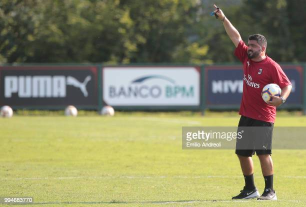 Milan coach Ivan Gennaro Gattuso gestures during the AC Milan training session at the club's training ground Milanello on July 9 2018 in Solbiate...