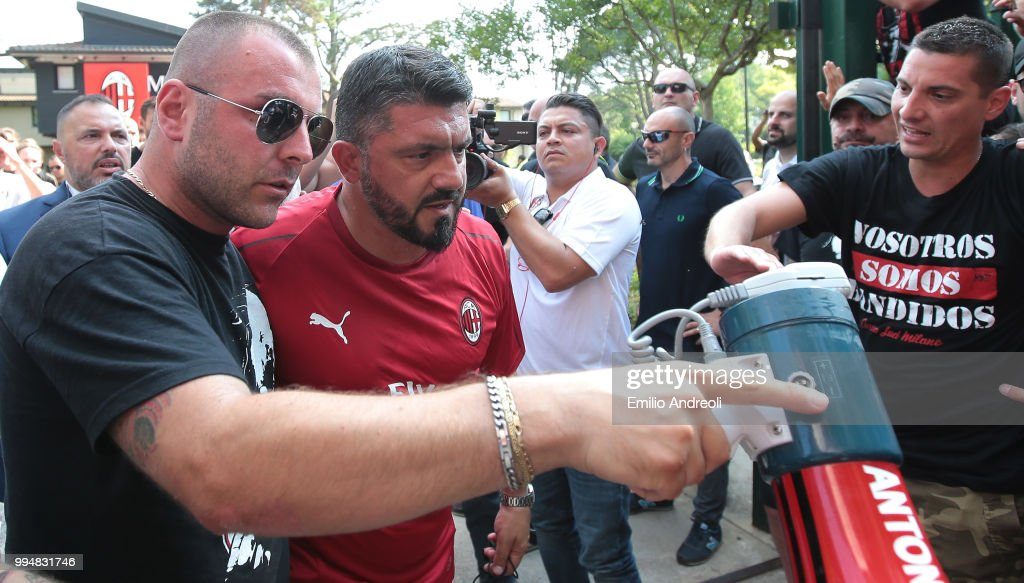 AC Milan coach Ivan Gennaro Gattuso greets the fans prior to the AC Milan training session at the club's training ground Milanello on July 9, 2018 in Solbiate Arno, Italy.