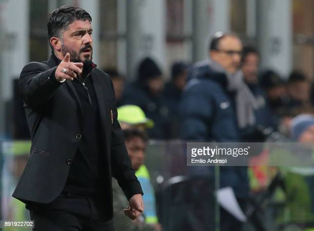 Milan coach Ivan Gennaro Gattuso issues instructions to his players during the Tim Cup match between AC Milan and Hellas Verona FC at Stadio Giuseppe...