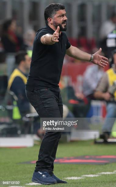 Milan coach Ivan Gennaro Gattuso issues instructions to his players during the serie A match between AC Milan and Benevento Calcio at Stadio Giuseppe...
