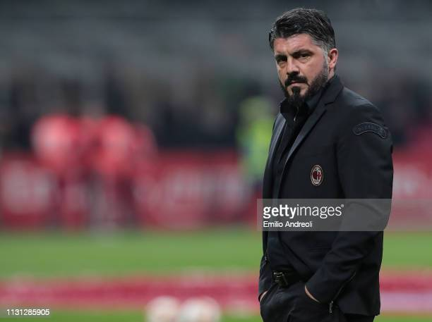 Milan coach Ivan Gennaro Gattuso looks dejected at the end of the Serie A match between AC Milan and FC Internazionale at Stadio Giuseppe Meazza on...