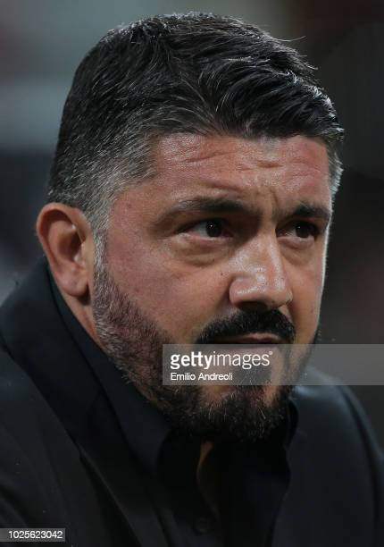 Milan coach Ivan Gennaro Gattuso looks on before the serie A match between AC Milan and AS Roma at Stadio Giuseppe Meazza on August 31 2018 in Milan...
