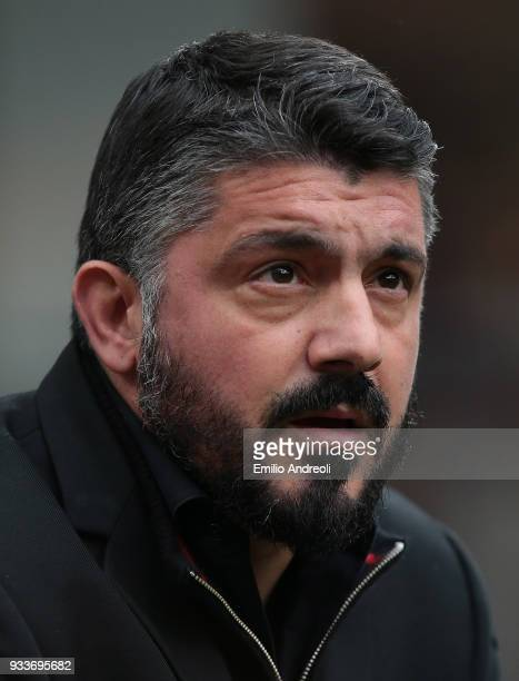 Milan coach Ivan Gennaro Gattuso looks on before the serie A match between AC Milan and AC Chievo Verona at Stadio Giuseppe Meazza on March 18 2018...