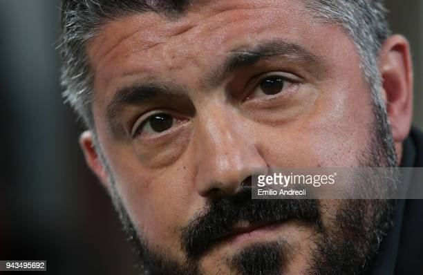 Milan coach Ivan Gennaro Gattuso looks on before the serie A match between AC Milan and US Sassuolo at Stadio Giuseppe Meazza on April 8 2018 in...