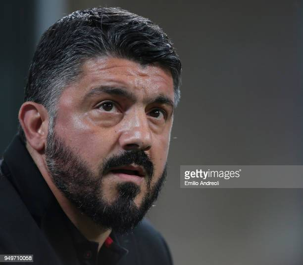 Milan coach Ivan Gennaro Gattuso looks on before the serie A match between AC Milan and Benevento Calcio at Stadio Giuseppe Meazza on April 21 2018...