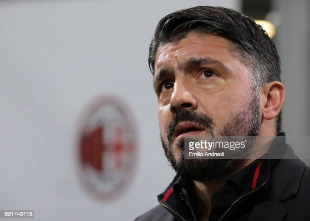 Milan coach Ivan Gennaro Gattuso looks on before the Tim Cup match between AC Milan and Hellas Verona FC at Stadio Giuseppe Meazza on December 13...